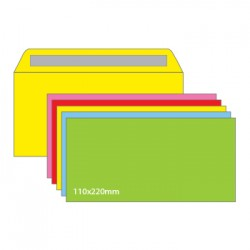 Envelopes 110X220mm s/Janela Cores Sort Fortes Pack 25un